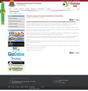 Print screen da matéria no site oficial da Prefeitura Municipal de Ubatuba
