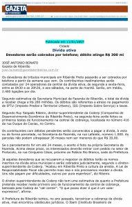 Print Screen da matéria no site da Gazeta de Ribeirão