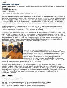 Print screen da página da matéria no site do jornal Gazeta de Ribeirão