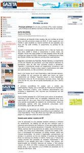Print screen da página da matéria no jornal Gazeta de Ribeirão