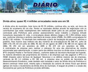 Print Screen da matéria no site do Jornal Diário