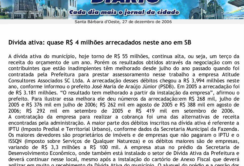 Dívida ativa: quase R$ 4 milhões arrecadados neste ano em SB