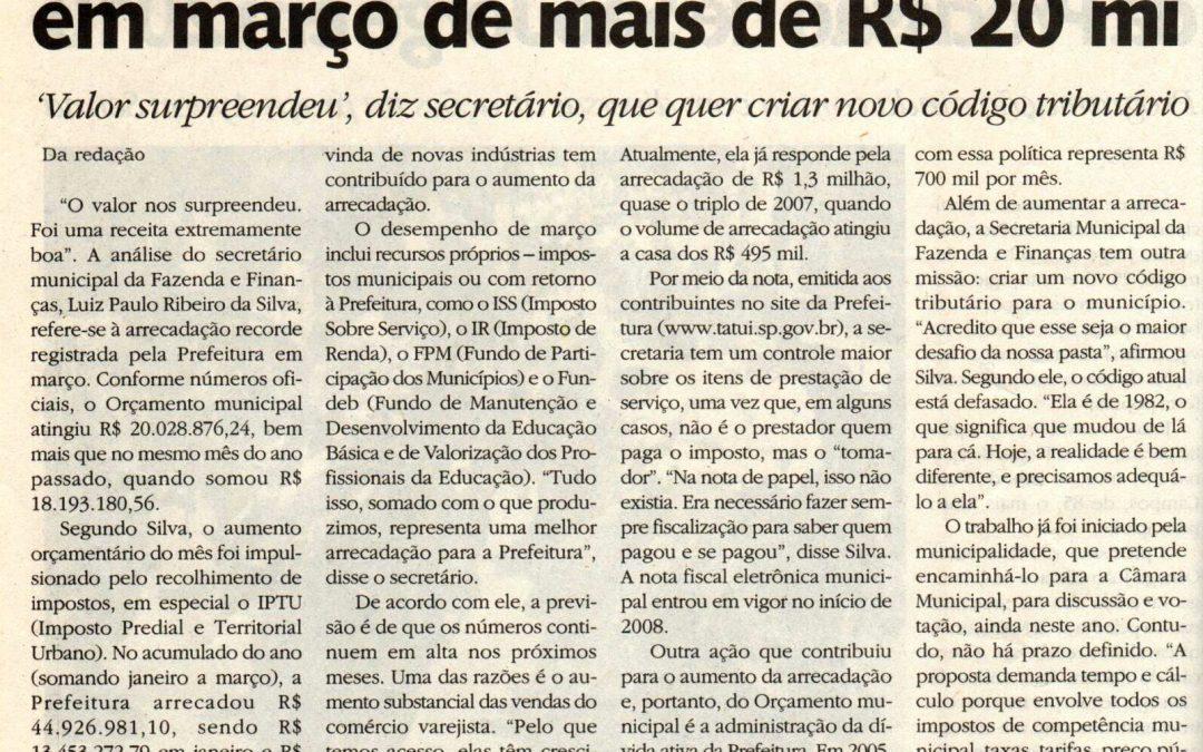 Tatuí tem arrecadação recorde em março de mais de R$ 20 milhões