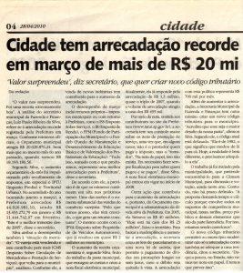 Fotocópia da matéria no jornal O Progresso de Tatuí